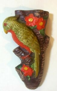 Vtg JAPAN Wall Pocket PARROT Figural Flowers Branch tree