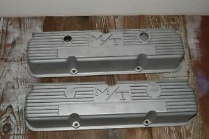 Vtg Pair Of 390 Ford Fe M T 103r 56 Tall Aluminum Valve Covers Mickey Thompson