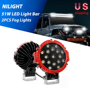 Nilight 2pcs 7 inch 51w Led Work Lights Pods Offroad Spot Car Fit For Jeep Truck