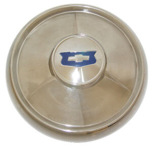 1954 Chevrolet Car Hubcaps Small Style W Blue Painted Details 150 210 Bel Air