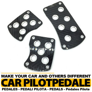 Carbon Fiber Black Mt Universal Racing Non Slip Manual Car Pedals Pad 3pcs Set