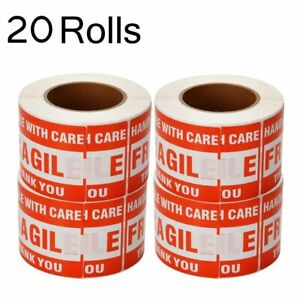 20 Rolls Large 3 X 5 Fragile Stickers Handle With Care Shipping Labels 500 roll