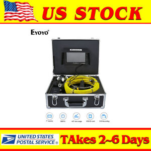 30m Sewer Pipe Drain Video Camera Dvr Inspection Recording System 7 Screen Lcd