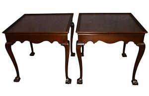 Vintage Pair Of Drexel Mahogany Chippendale Style Ball Claw Foot Side Tables