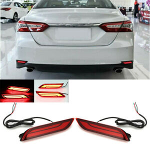 Pair Led Light Rear Warning Bumper Light Brake Lights For Toyota Camry 18 19