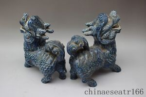 Chinese Blue And White Porcelain Feng Shui Foo Dog Lion Kylin Beast Statue