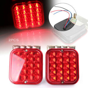 2x Trailer Tail Light Kit For Brake Rv Boat Truck Turn Signal Led Light Red 12v