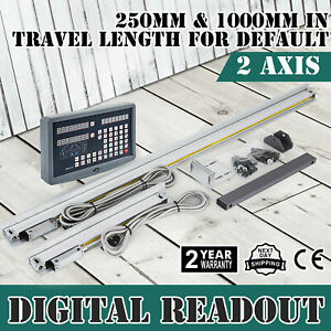 2 Axis Digital Readout Kit 1000 250mm Travel Scale Mill Lathe Dro us Stock