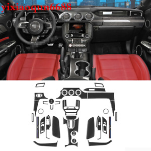 For Ford Mustang 2015 2019 Real Carbon Fiber Inner Accessories Whole Kit Cover