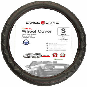 Steering Wheel Cover Black Red Deluxe Grip 13 5 14 5 S Small Fits Honda