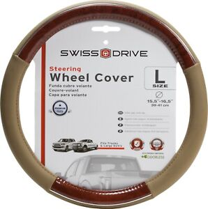 Large Steering Wheel Cover Beige Tan Wood Grain Truck Van Suv 15 5 16 5 L