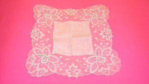 Vtg Wedding Hankerchief Hankie Ivory Off White Lace Embroidery Linen Floral