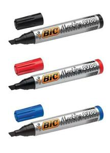 Bic Permanent Marker Pen 2300 thick Black Blue Red