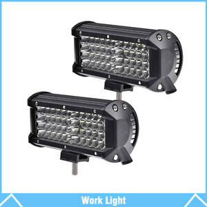 2pcs 7 6000k Led Work Light Bar Flood Combo Pods Driving Off Road Tractor 4wd