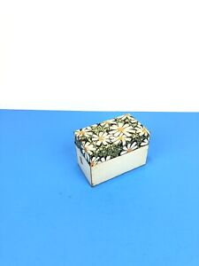 Vintage Small Metal Floral Recipe File Index Card Box Holder J Chen Co