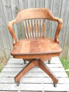 Vintage Wooden Bankers Arm Chair By B L Marble