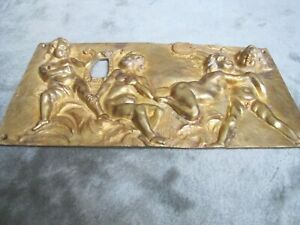 Antique 19 Century English Or French Bronze Brass 3d Panel