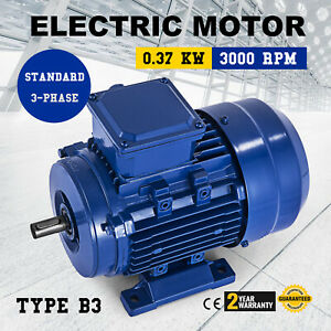 1 2 Hp Electric Motor 3 Phase B3 3000 Rpm 230 400 Volt New Vevor