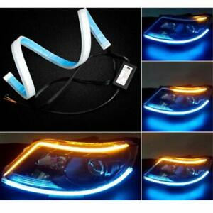 2x60cm Led Drl Lamps Turn Signal Strip Light Flexible Soft Tube Ice Blue