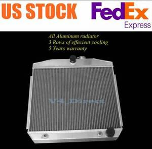 3 Rows Aluminum Radiator Fit 1955 56 57 Chevy Bel Air V8 Engine Support Cc5057
