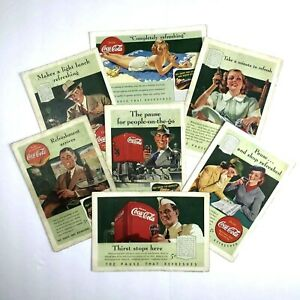 Set 7 Vintage COCA-COLA 1940's Print Ads Pause That Refreshes