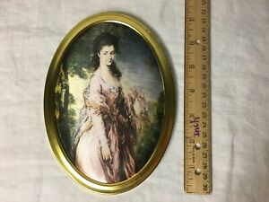 Vintage Silk Victorian European Young Lady Portrait Wall Hang Gold Frame Norway