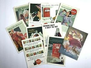 Set of 10 Vintage COCA-COLA 1940's Print Ads