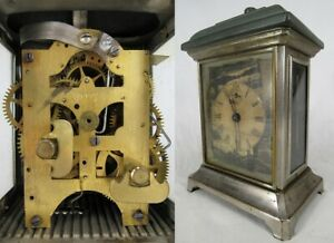 Antique Seth Thomas Alarm Clock Metal Case Rare Carriage Glass Side Windows