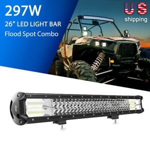 26inch Nilight Led Light Bar 297w Spot Flood Combo Tri row Offroad Driving Boat