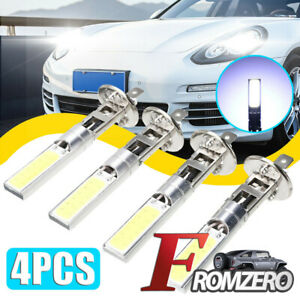 4pcs Car H1 Cob Led Headlight Hi Lo Beam Drl Driving Light Lamp Bulb White 6000k