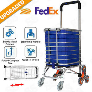 Folding Shopping Cart Grocery Trolley Laundry Stair Climbing Large Handcart Us
