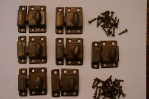7 Old Cabinet Cupboard Turn Latches Twist Knob Spring With Screws