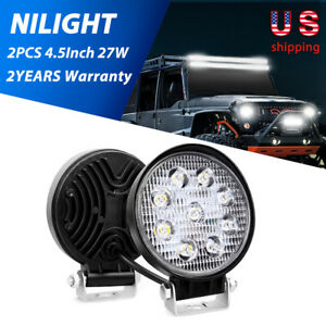 27w 2pcs 4 5 Round Led Lights Offroad Spot Car Lamps For Suv Atv Tractor 3000lm