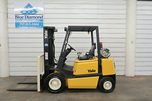 Yale Glp050tg 5 000 Pneumatic Forklift Lp Gas Three Stage Sideshift