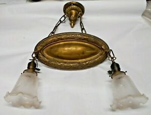 Vintage Art Deco Brass Ceiling 2 Light Fixture With Shades Ls