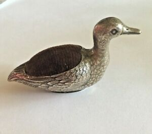 Antique Henckel Co Sterling Silver Figural Duck Pin Cushion 3