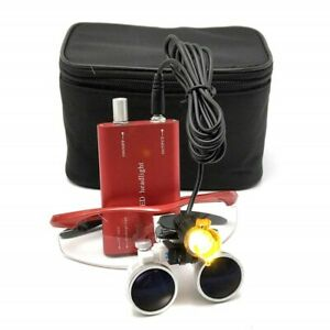 Dental Medical 3 5x Binocular Loupes 3w Led Head Light With Filter Red Bag