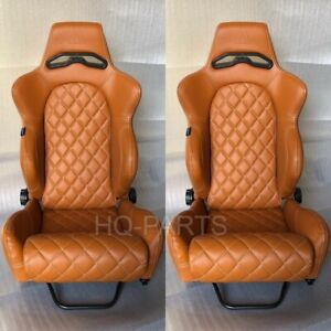 2 X Tanaka Tan Pvc Leather Racing Seats Reclinable Diamond Stitch Fits Vw