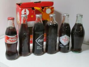 Pack of 6 Rare Limited Edition Mexican Coca-Cola Glass Bottles