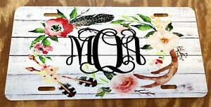 Personalized Boho License Plate Monogram Rustic Wooden Antler Feather Car Tag