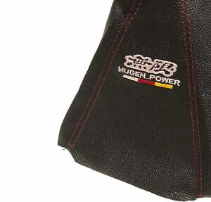 Mugen Power Shift Knob Shifter Boot Cover Mt at Black Pvc Leather Red Stitch