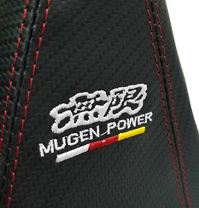 Mugen Power Carbon Look Shift Knob Shifter Boot Cover For Mt at With Red Stitch