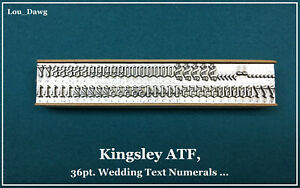 Kingsley Atf Type 36pt Wedding Text Numerals Hot Foil Stamping Machine