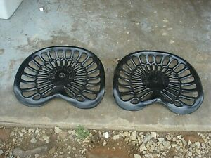 2 Vintage Art Deco Deering Cast Iron Tractor Seat Implement Original
