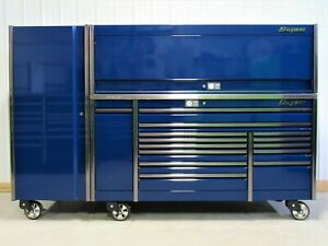 Snap On Midnight Blue 84 Epiq Tool Box Stainless Top Hutch Full Size Locker