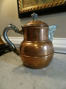 Antique Rustic Copper Decorative Tin Coffee Pot Lidded 8 Tall