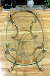 Vintage Oval Solid Brass Footed Glass Top Coffee Table