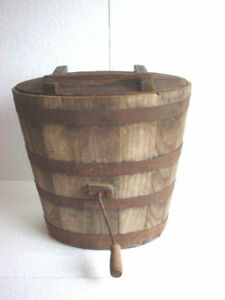 Antique Primitive Large Heavy Wooden Barrel Type Butter Churn 17 3 4 Tall