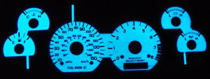 Blue Green Glow White Face Gauge Overlay For 1999 2004 Ford Mustang Gt 150mph