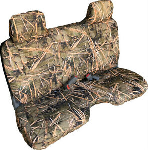 Triple Stitched Muddy Camo Bench Seat Cover Large Notched Cushion Custom Fit